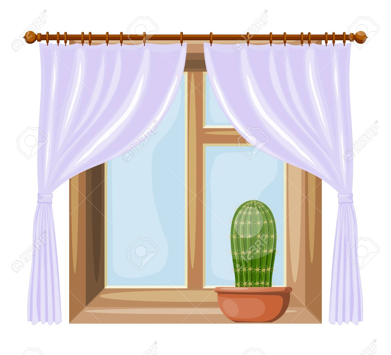 Color Image Cartoon Style Windows With Curtains On A White Background Vector Illustration Of