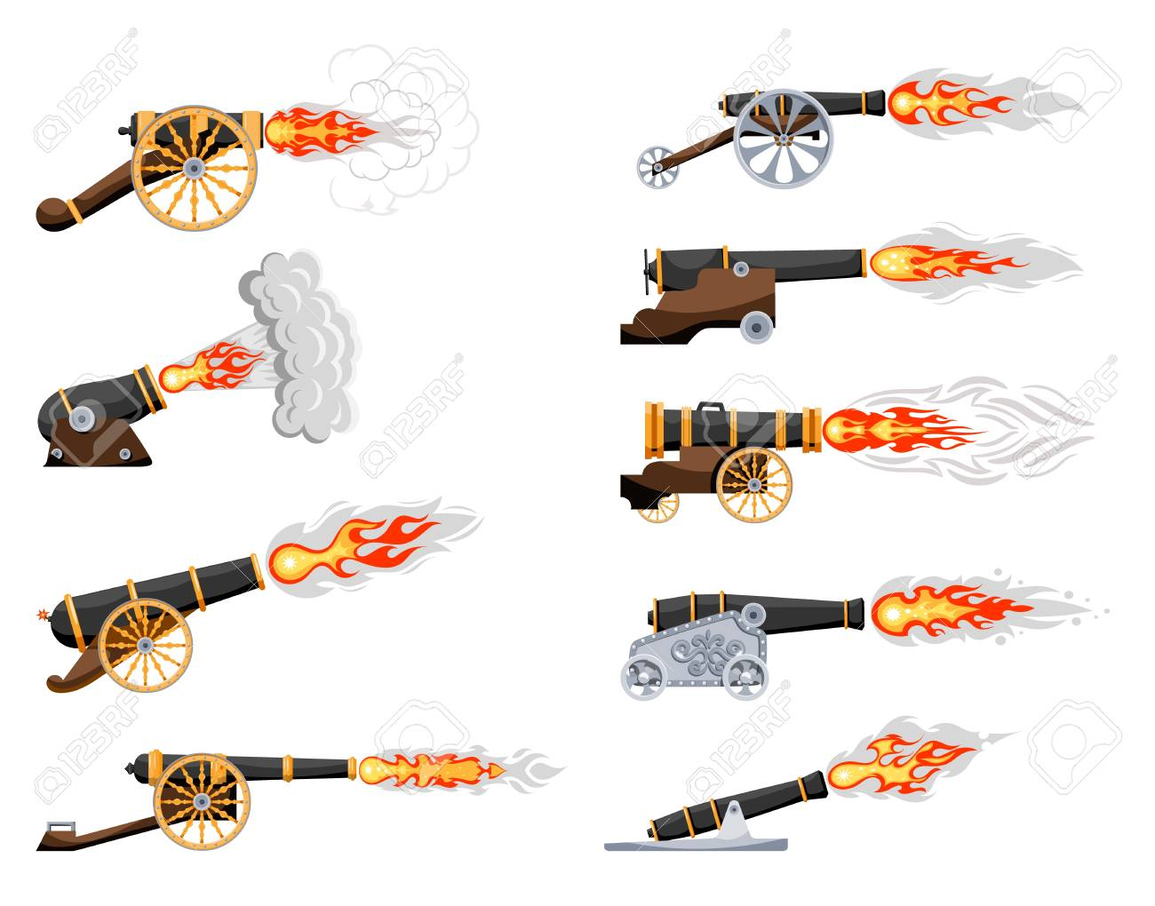 set vintage gun  color image of medieval cannon firing on a white  background  cartoon