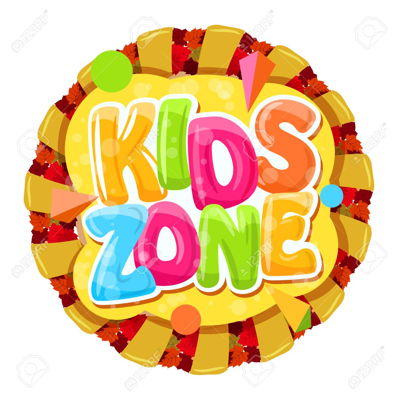 Round Cartoon Logo For Kids Room. Colorful Bubble Letters For The Childrenu0027s  Playroom. The