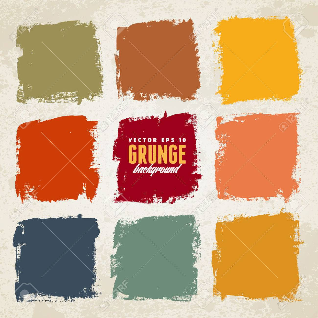 Grunge ink hand-drawn colorful squares - 38591911