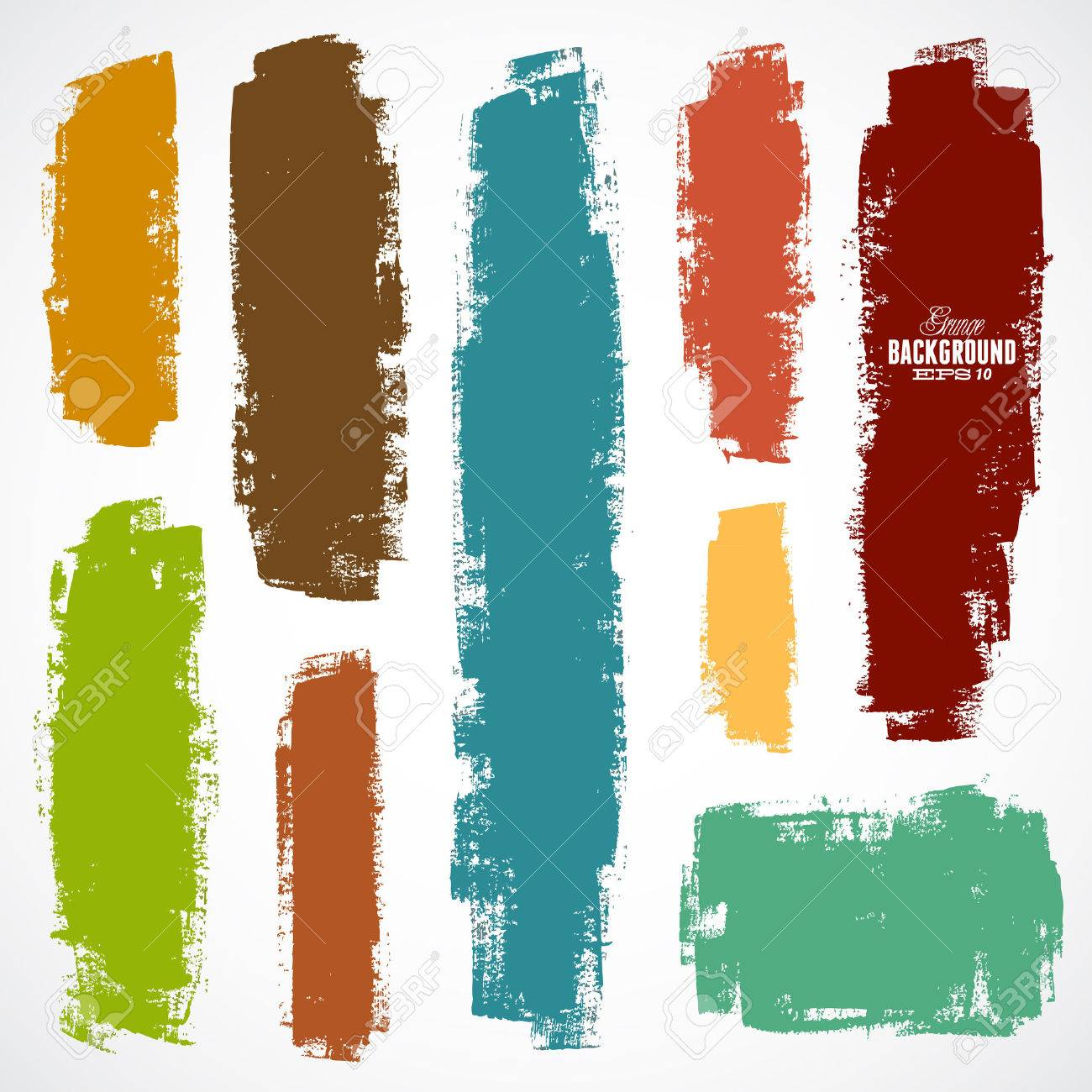 Vector set of grunge colorful brush strokes - 38823171