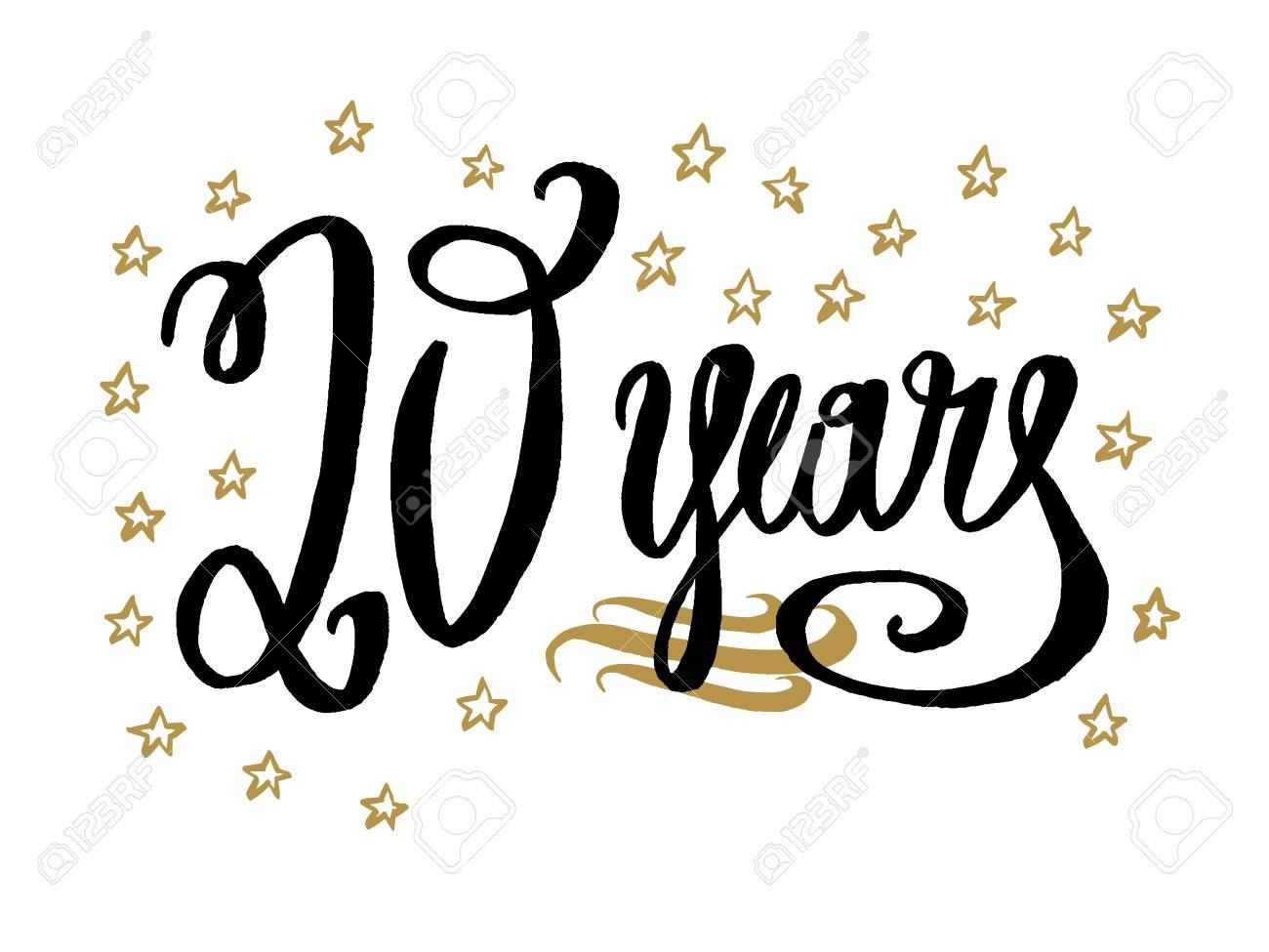 Tarjeta De 20 Años Banner Hermoso Saludo Rayado Caligrafía Texto Palabra Oro Estrellas Mano Dibujada Invitación T Shirt Diseño De Impresión