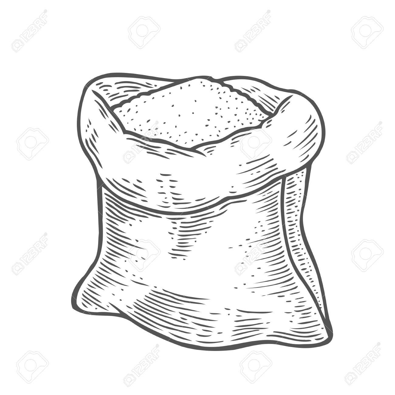 Dibujado A Mano Saco Con Harina Integral O Azucar Con Trigo De Oreja