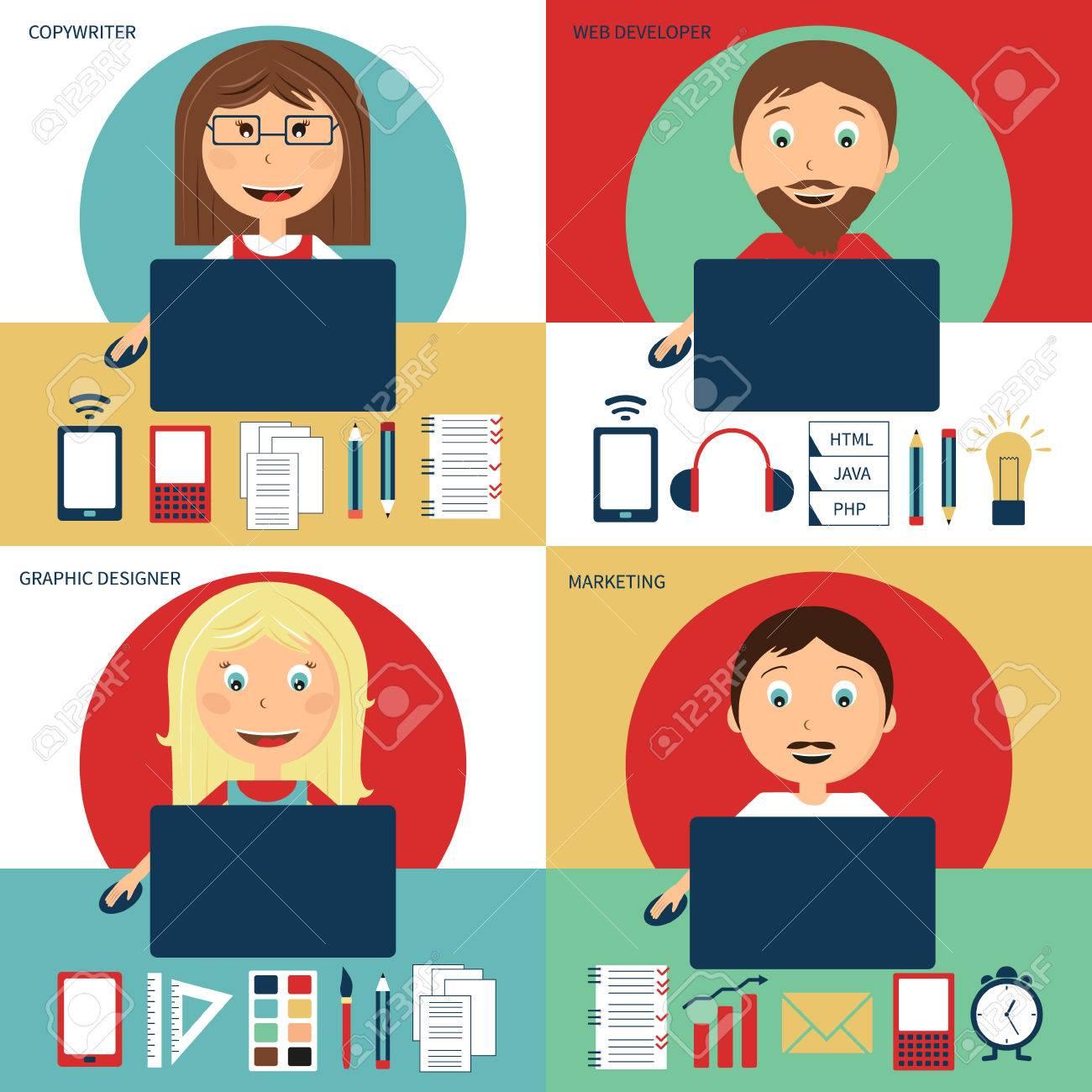 Set Of Freelance Jobs Copywriter Web Developer Graphic Designer Royalty Free Cliparts Vectors And Stock Illustration Image 83821006