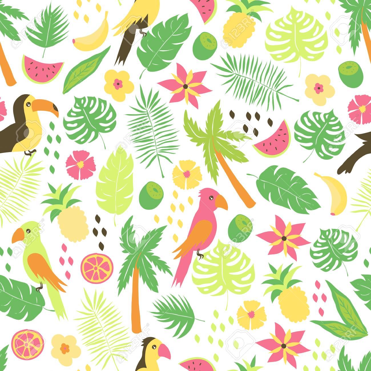 Padrao Sem Costura Com Flores Tropicais Coloridas Folhas Plantas