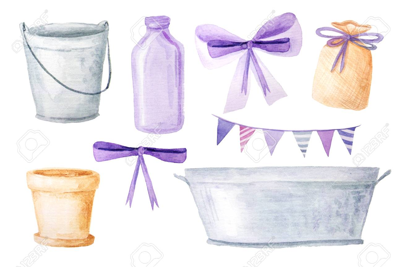 Hand Painted Watercolor Provence Garden Objects: Bucket, Pail, Bottle,  Flowerpot, Sachet