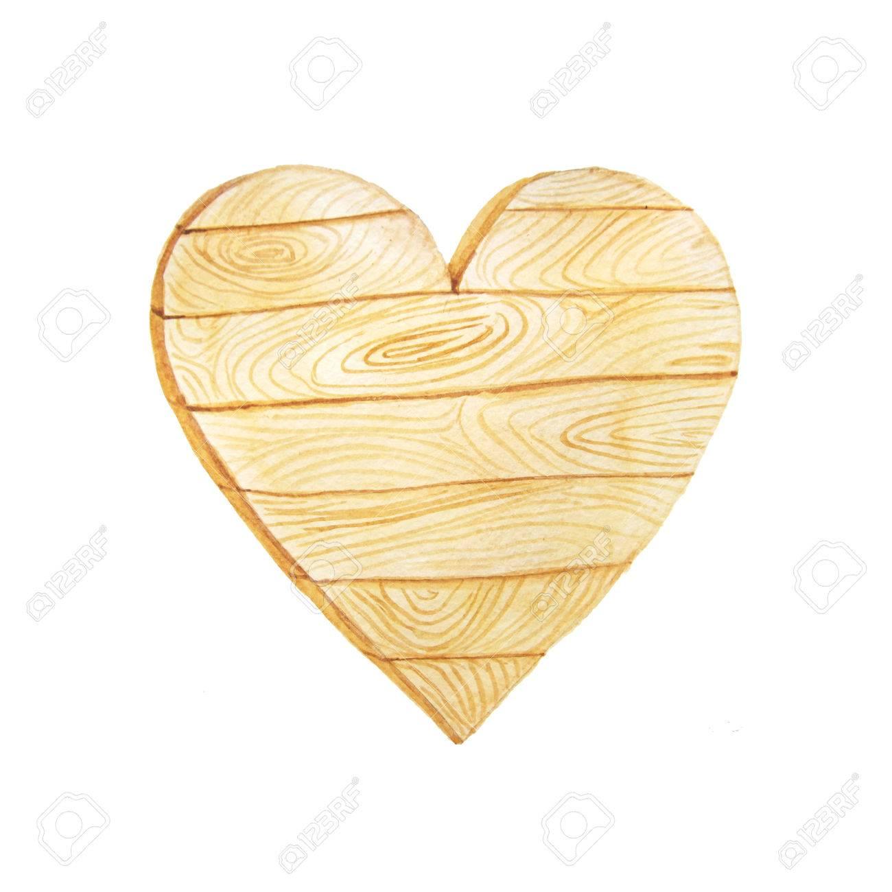 Hand Bemalt Aquarell Holz Herz Im Rustikalen Stil Dekorative Holz