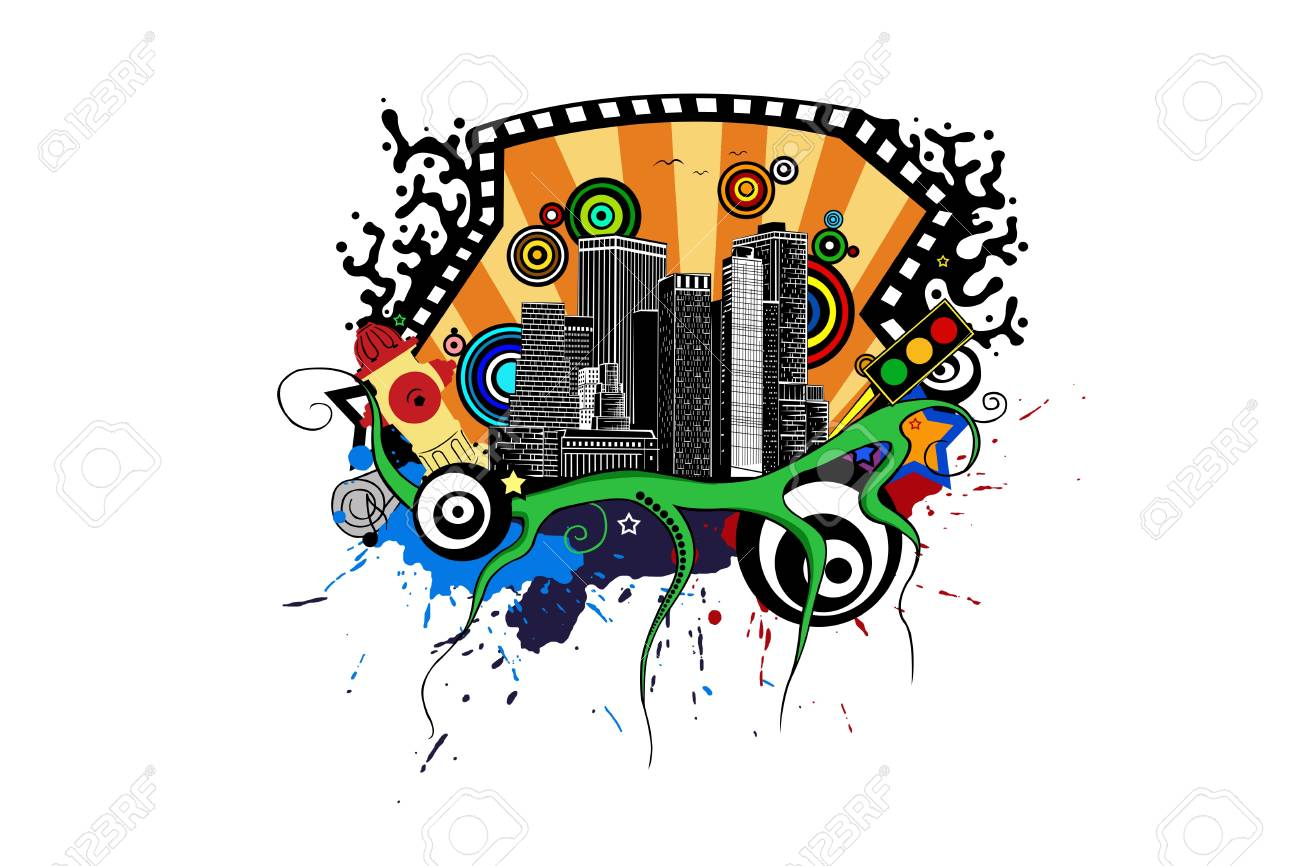 city illustration with colorful elements Stock Vector - 10493110