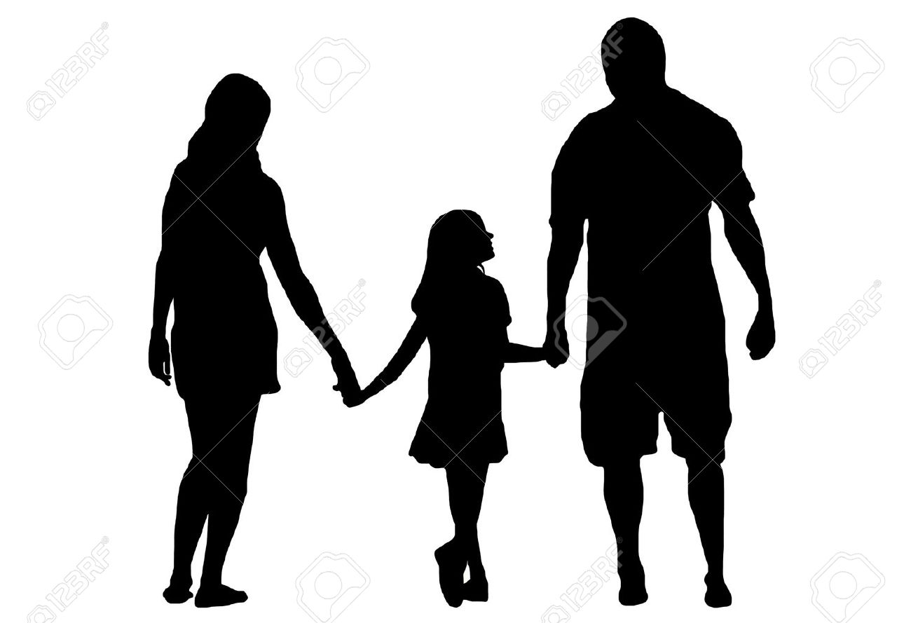 family silhouette isolated on white royalty free cliparts vectors rh 123rf com family silhouettes vector free walking family silhouette vector