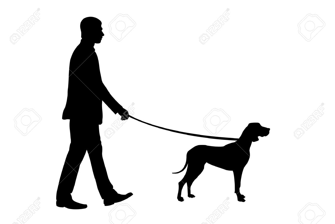 silhouette of man holding dog Stock Vector - 10941806