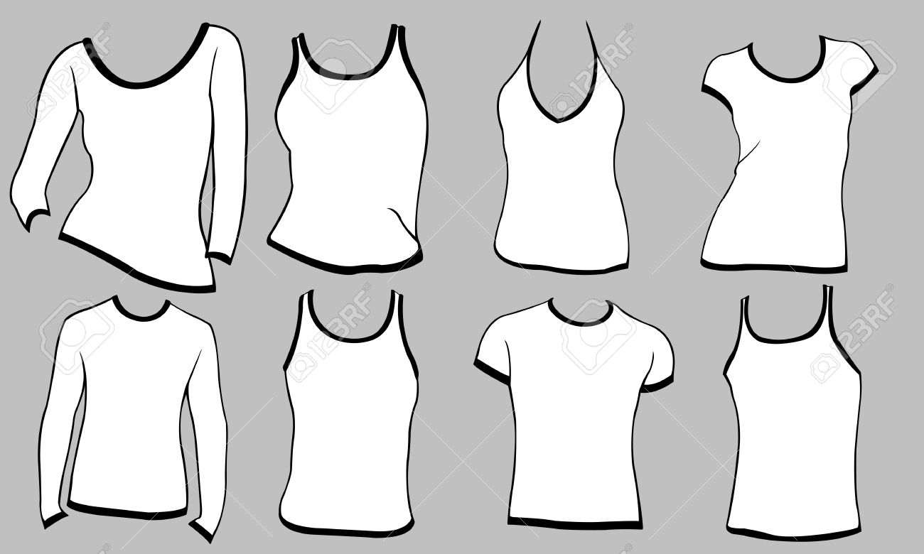 Different Types Of Shirts Isolated On Gray Royalty Free Cliparts