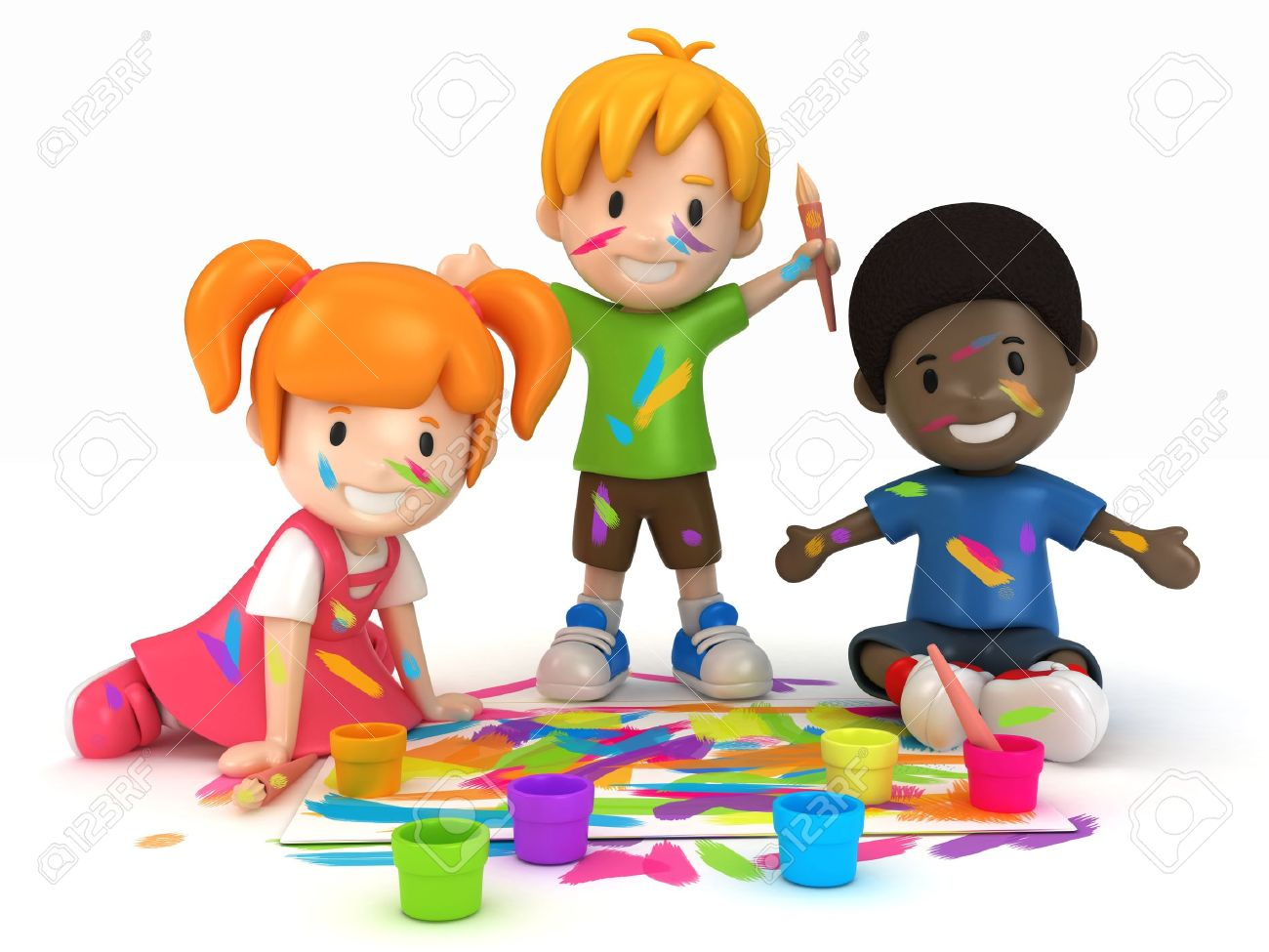 3d render of kids painting stock photo 15475048