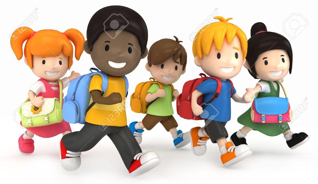 3d render of school kids running stock photo picture and royalty rh 123rf com Free Clip Art Downloads School Clip Art