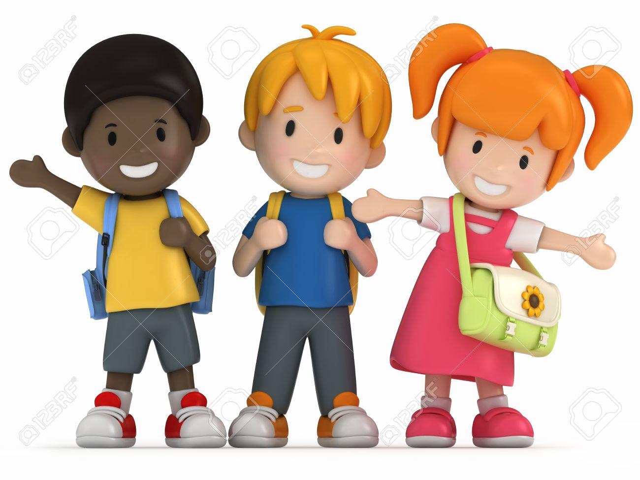 3D Render of Happy School Kids Stock Photo - 15475044