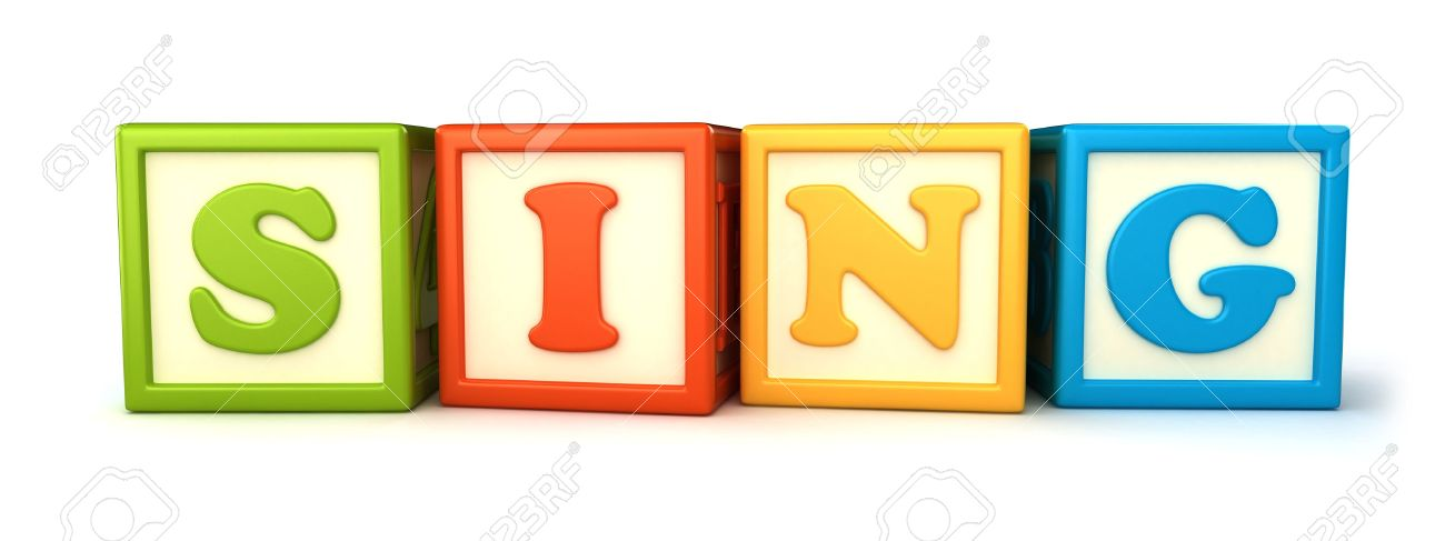 Alphabet building blocks that spelling the word sing Stock Photo - 15475021