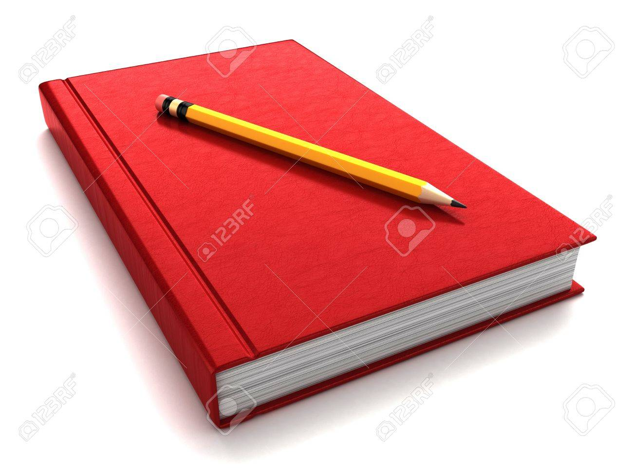 3d render of a thick red book with pencil on top Stock Photo - 15475109