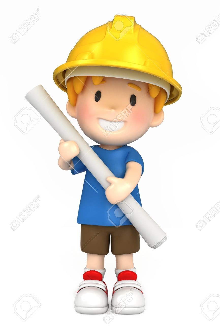 3d render of a little engineer/architect Stock Photo - 15474852