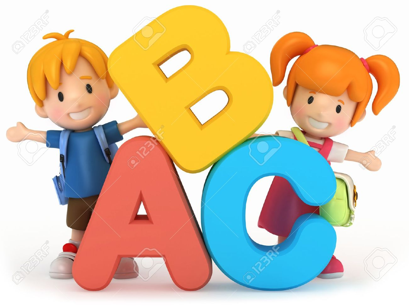 3D Render Of School Kids With ABC Stock Photo