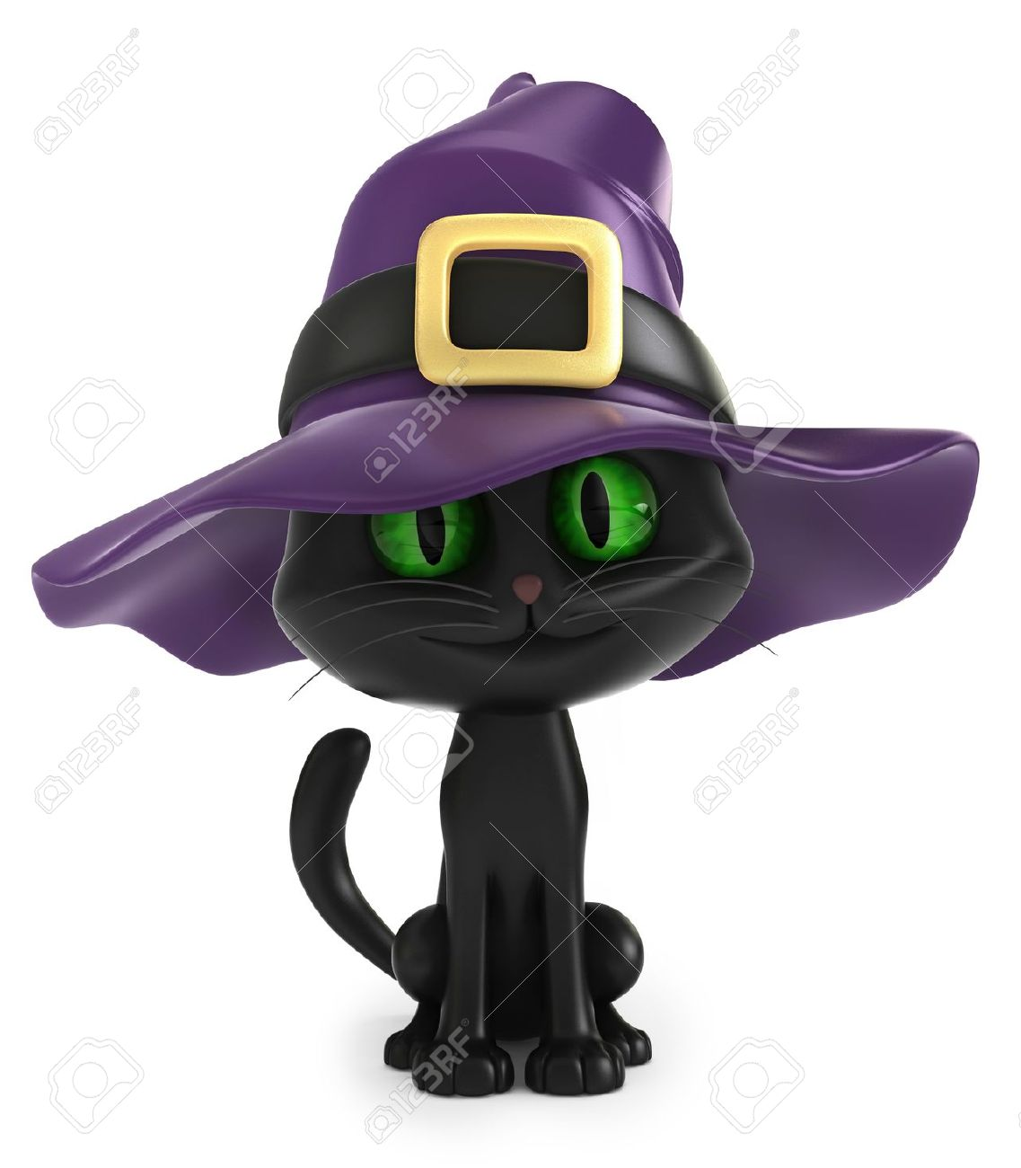 3D render of a black witch cat Stock Photo - 15606393