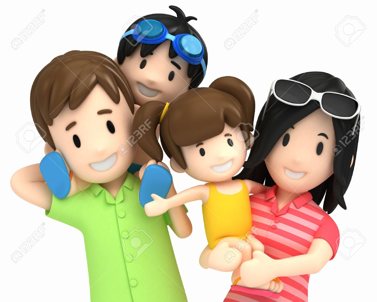 3d render of a family in swim wear Stock Photo - 15632698