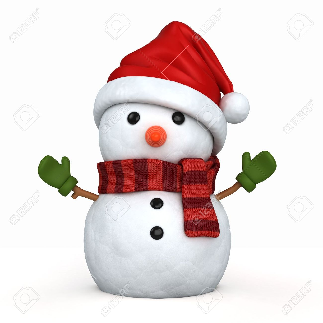 3d render of a snowman wearing santa hat and gloves Stock Photo - 15783673