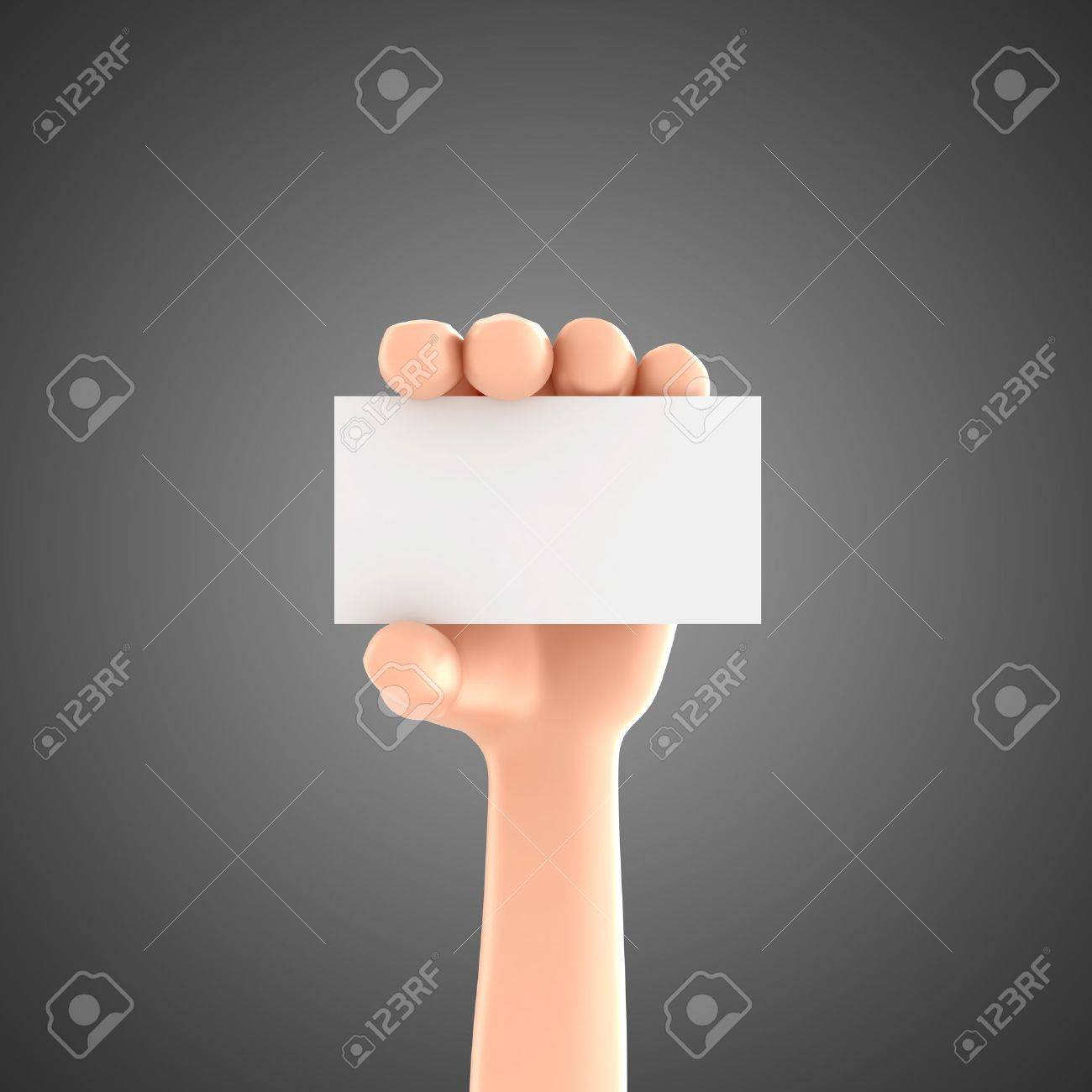 3d Render Of A Hand Holding Business Card Stock Photo, Picture And ...