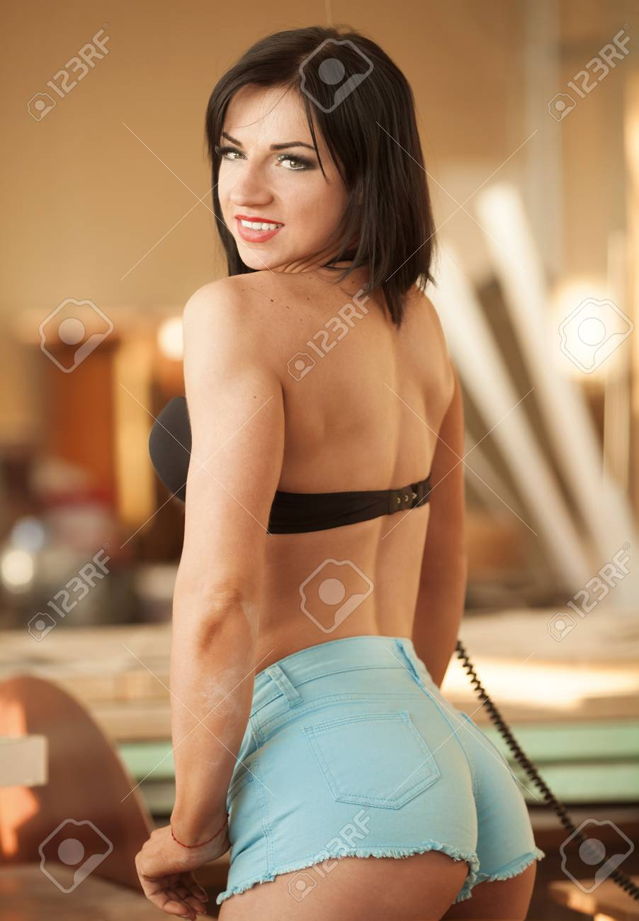 Erotic jeans on women asses