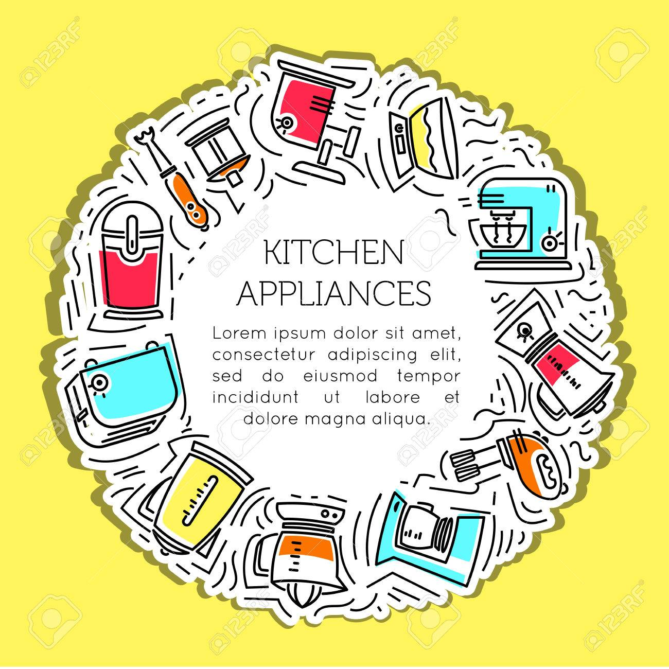 Tremendous The Frame Of The Line Icons Of Kitchen Appliances Electrical Wiring Digital Resources Hetepmognl
