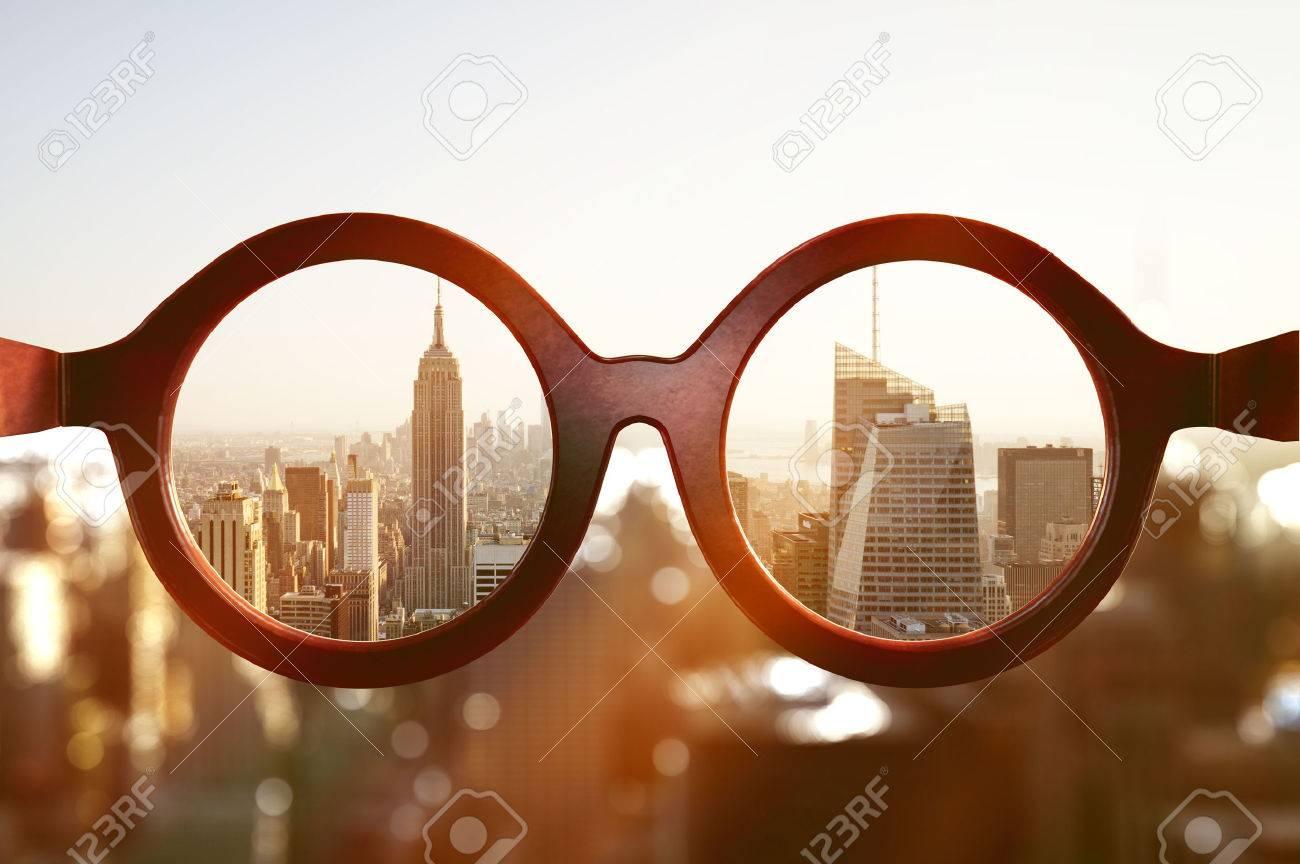 View on New York City through glasses - 75280755