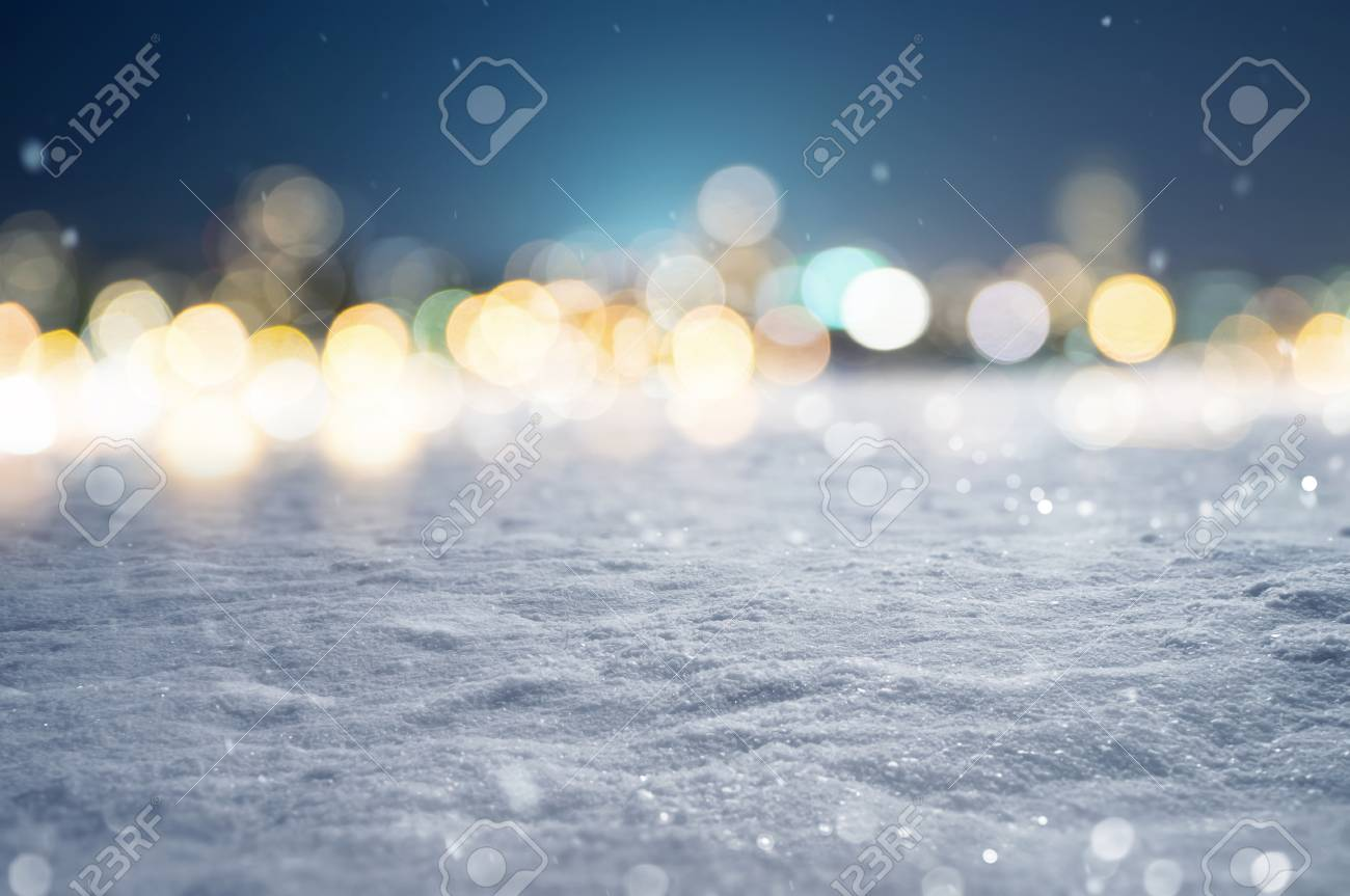 Snowy Background with Bokeh Lights - 75557404
