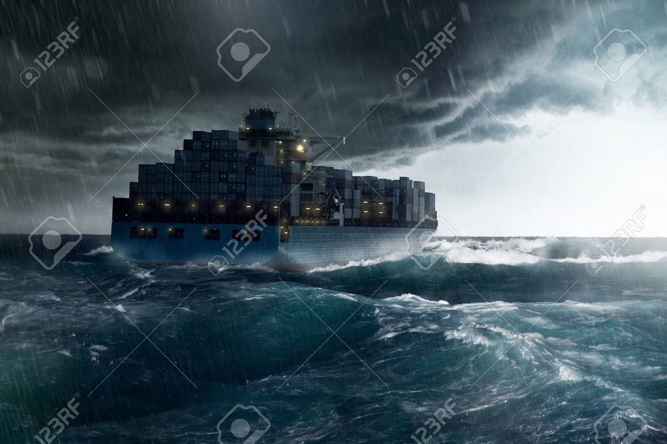 Cargo Ship in a Storm - 75557446