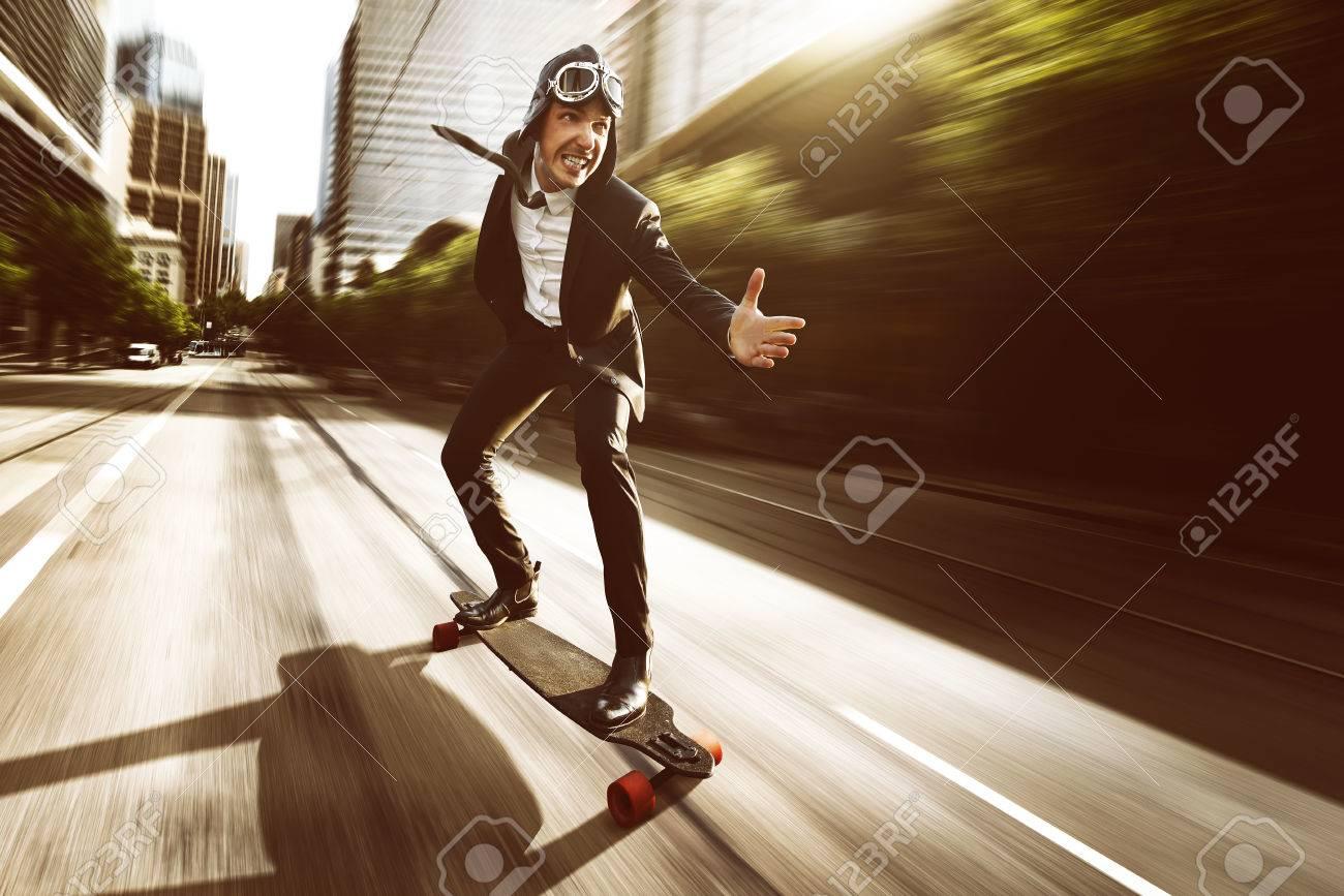 Skateboard with a business dress - 79498677
