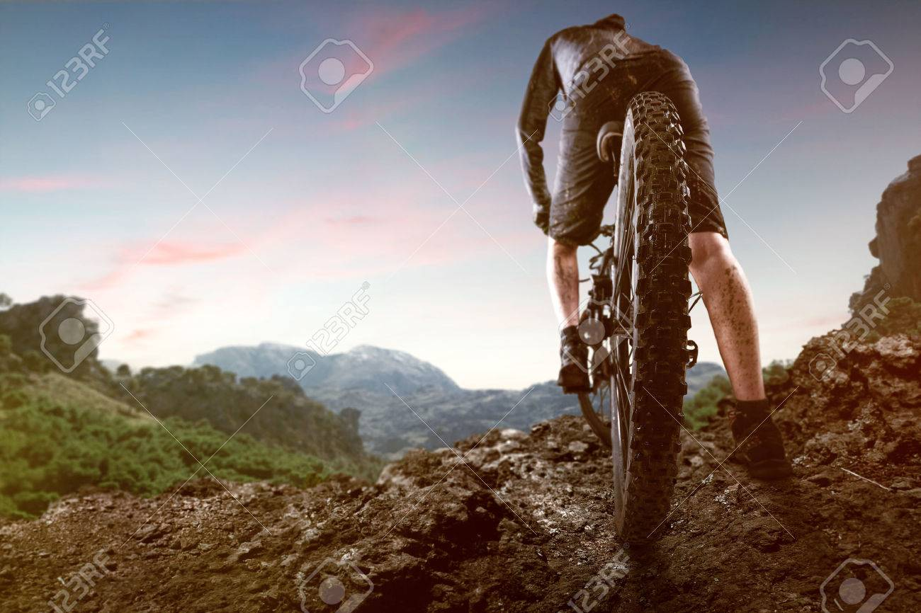 Mountainbiker in the Mountains - 77030897