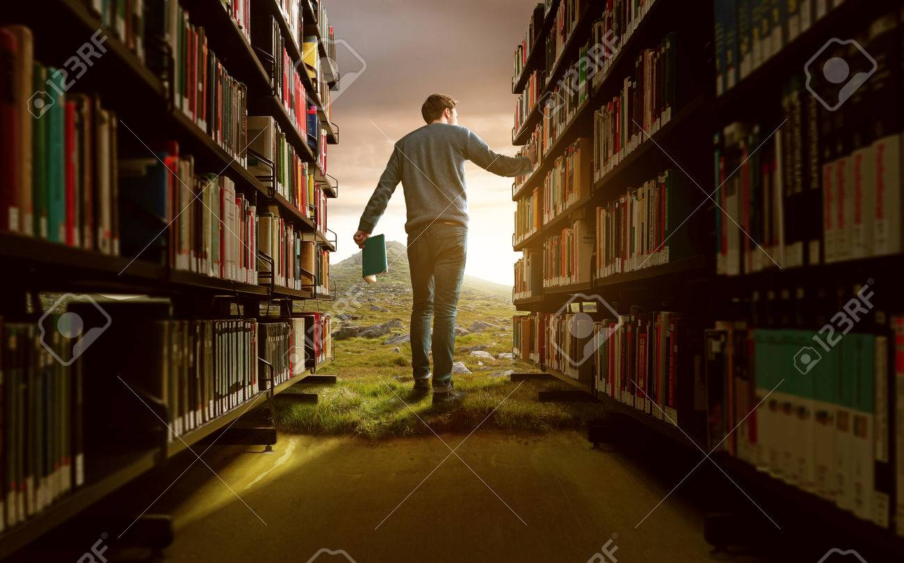 Man in a fantasy library setting - 77039718