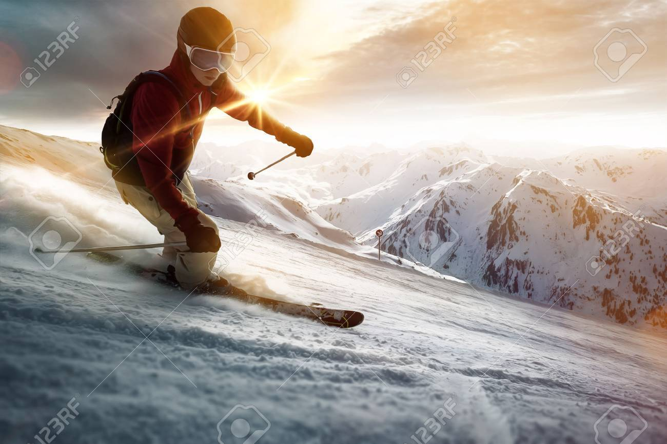 Skier in a sunset setting - 77039719