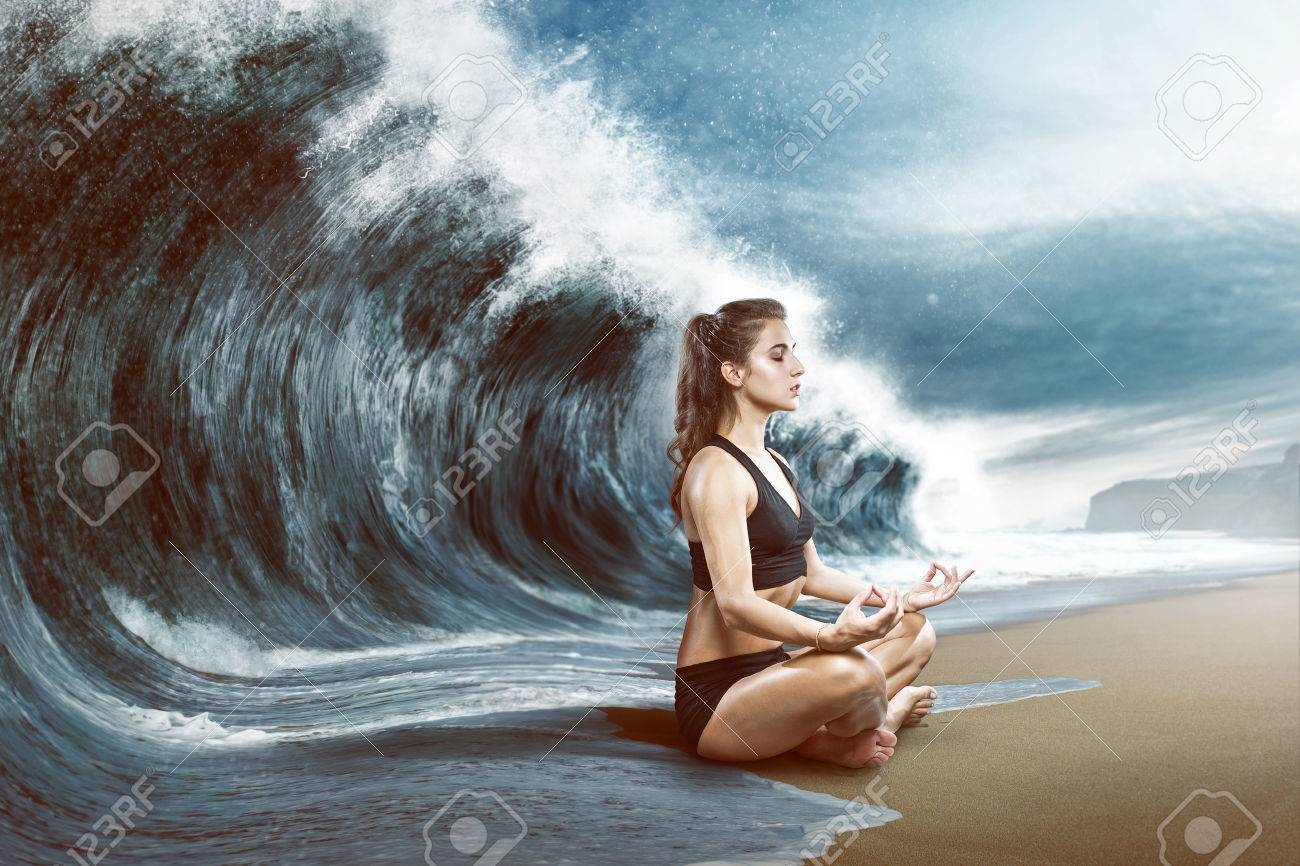 Woman relaxes in front of big wave - 77466838