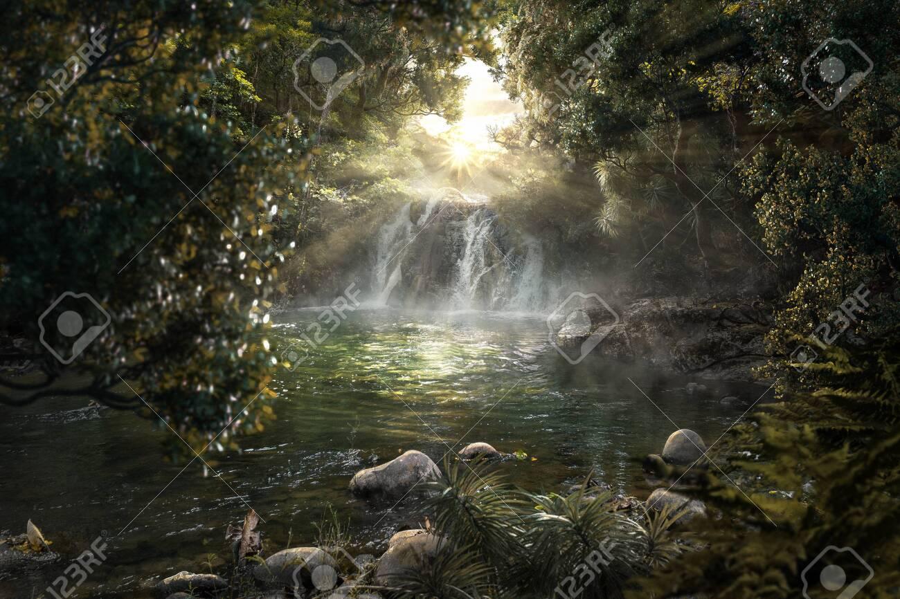 Heavenly jungle with beautiful waterfall - 137086485