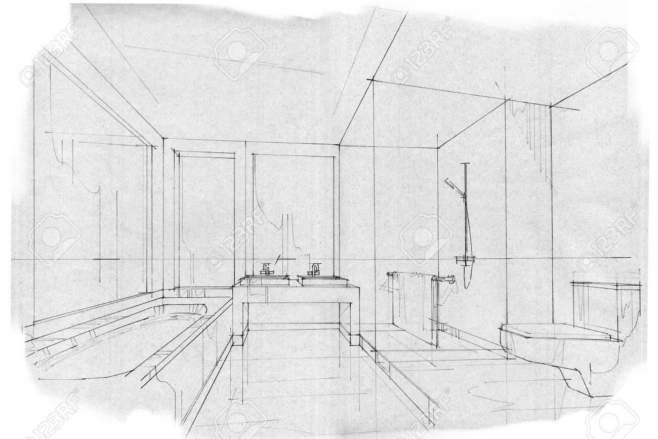 Skizze Streifen BAD, Schwarz Weiß Interieur. Standard Bild   63916498