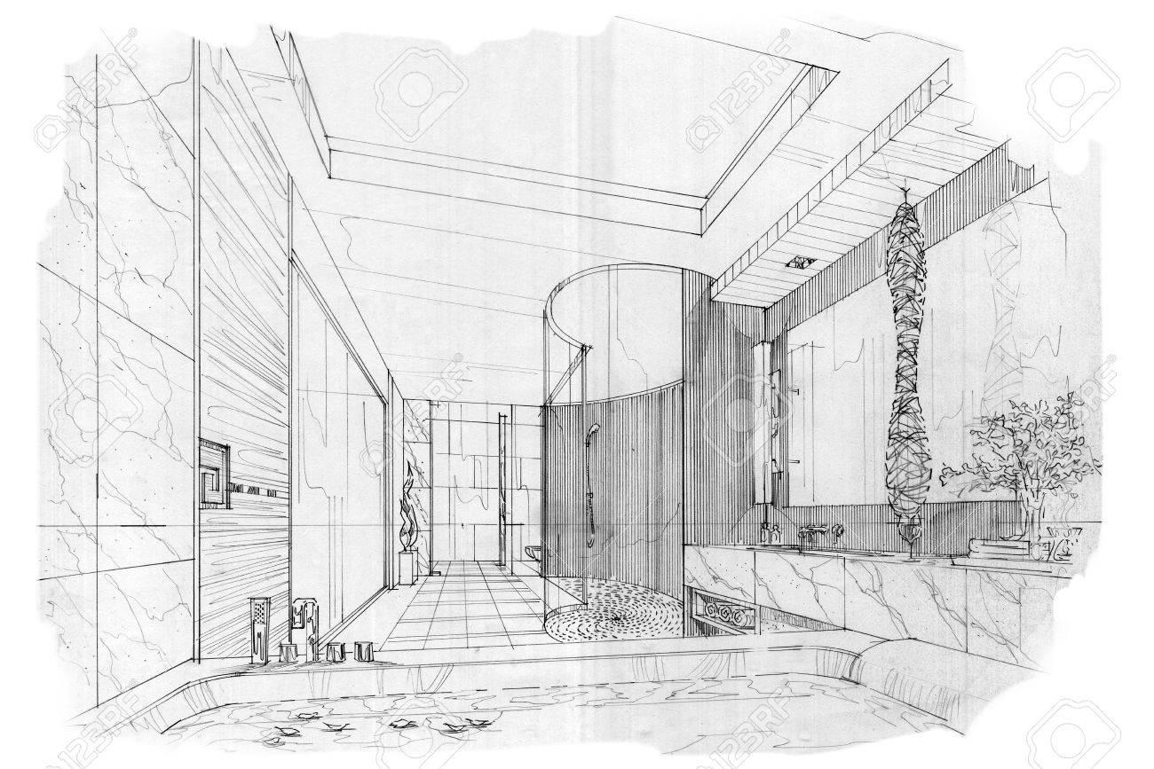 Hervorragend Skizze Streifen Bad, Schwarz Weiß Interieur. Standard Bild   63916573