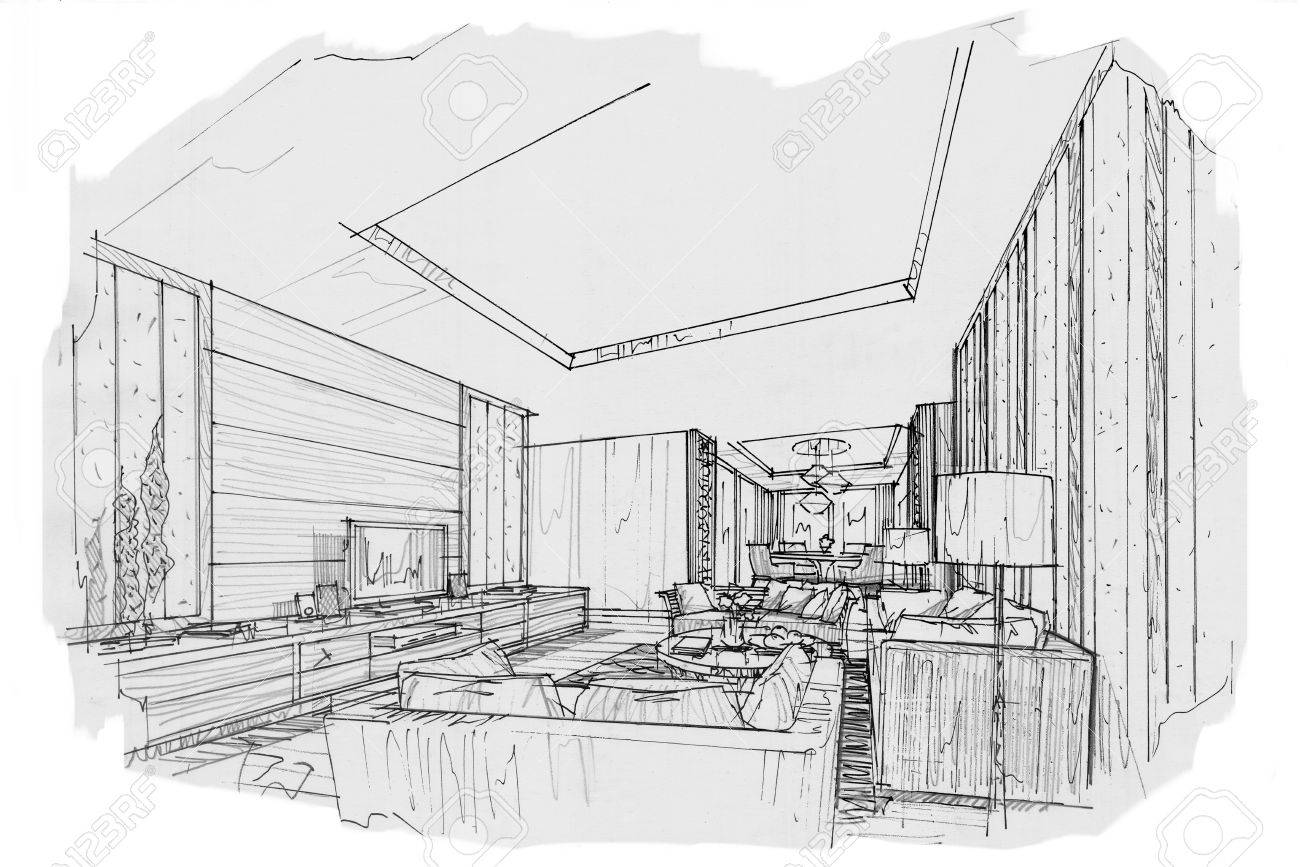 sketch interior perspective living room, black and white interior