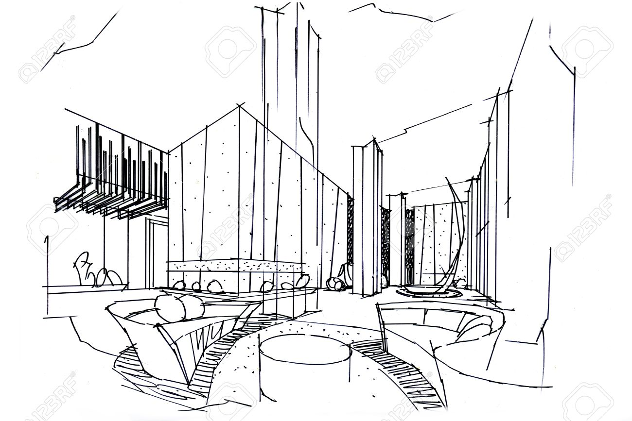 sketch interior perspective lobby, black and white interior design.