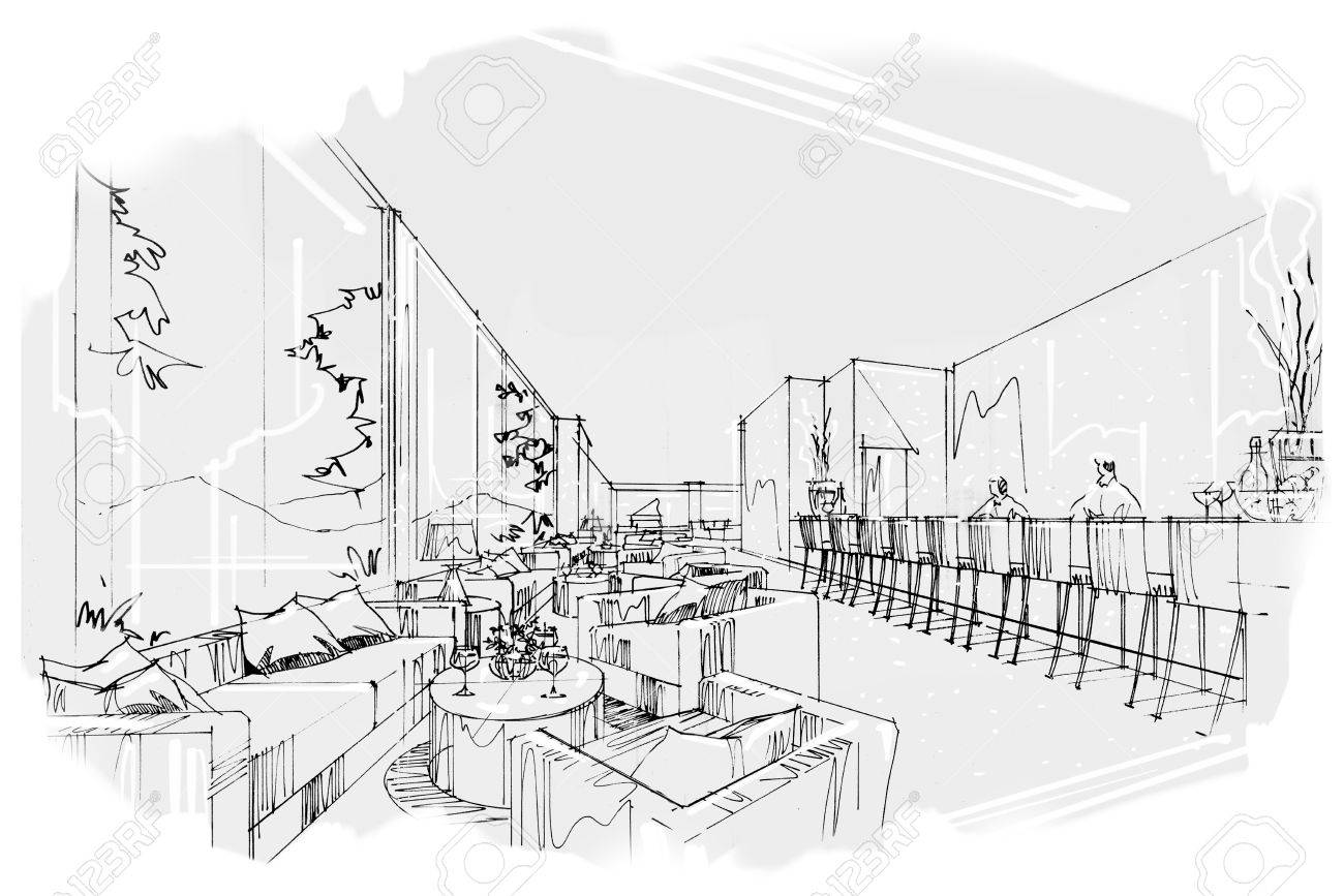 sketch perspective stripes all day, black and white interior design. - 63916678