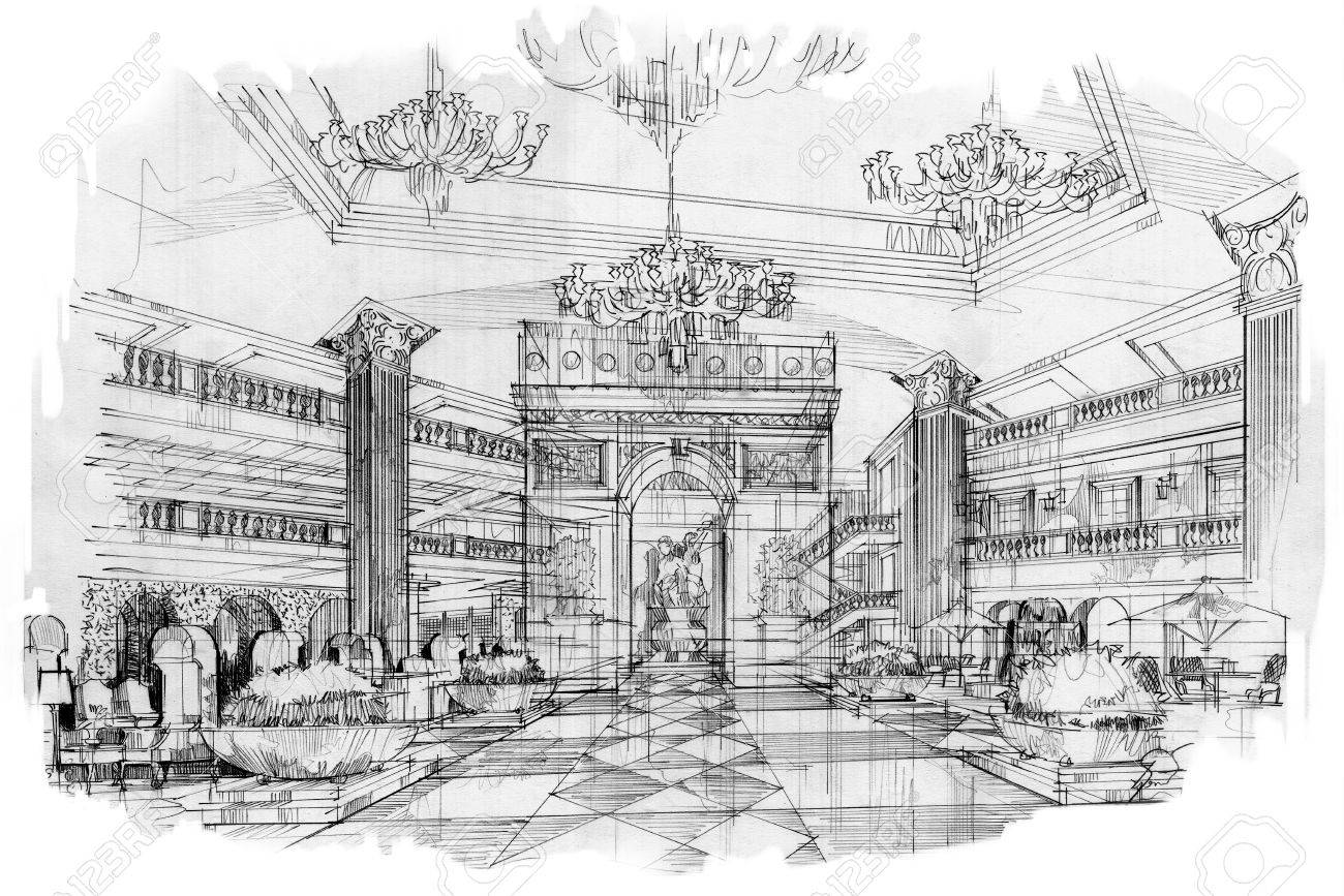 sketch perspective stripes lobby, black and white interior design.