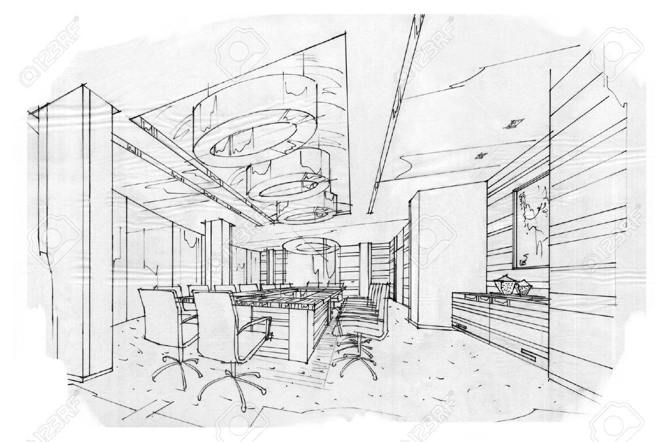 sketch interior perspective meeting room, black and white interior design. - 63916687