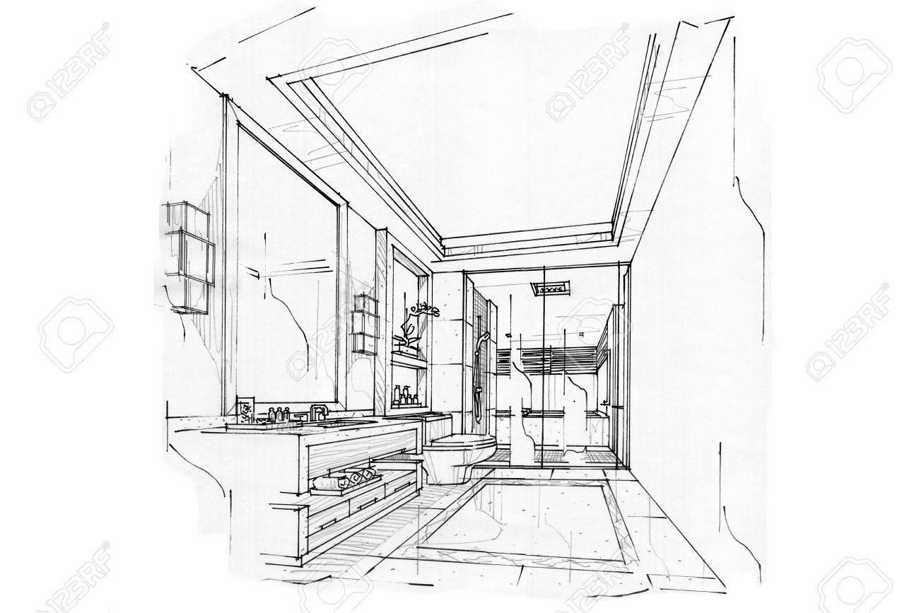 Skizze Innenperspektive BAD, Schwarz Weiß Interieur. Standard Bild    63916689