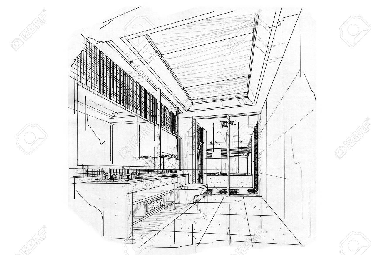 Skizze Innenperspektive BAD, Schwarz Weiß Interieur. Standard Bild    63916692