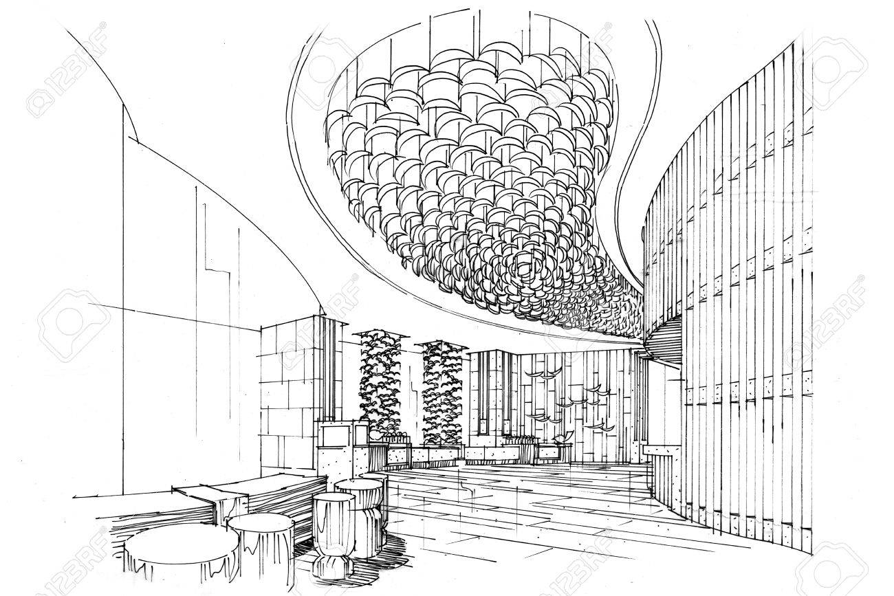 High Quality Sketch Interior Perspective Lobby, Black And White Interior Design. Stock  Photo   63916693
