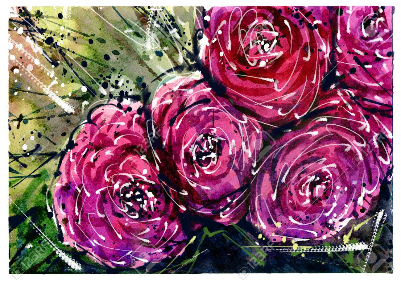 Watercolor Painting Flower Bouquets Rose Style Abstract Art. Stock ...