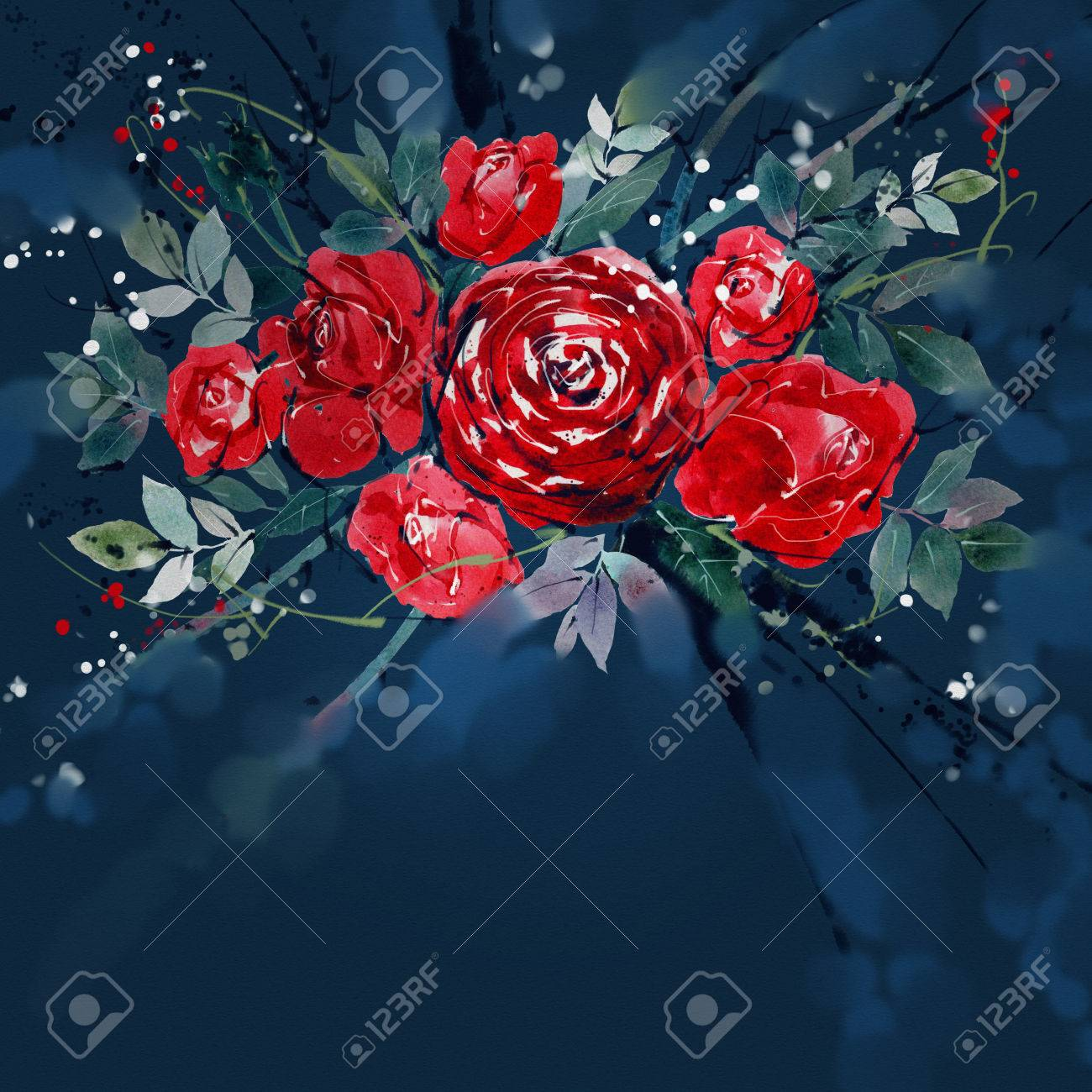 Watercolor Painting Flower Bouquets Rose Red .There Is Space.. Stock ...