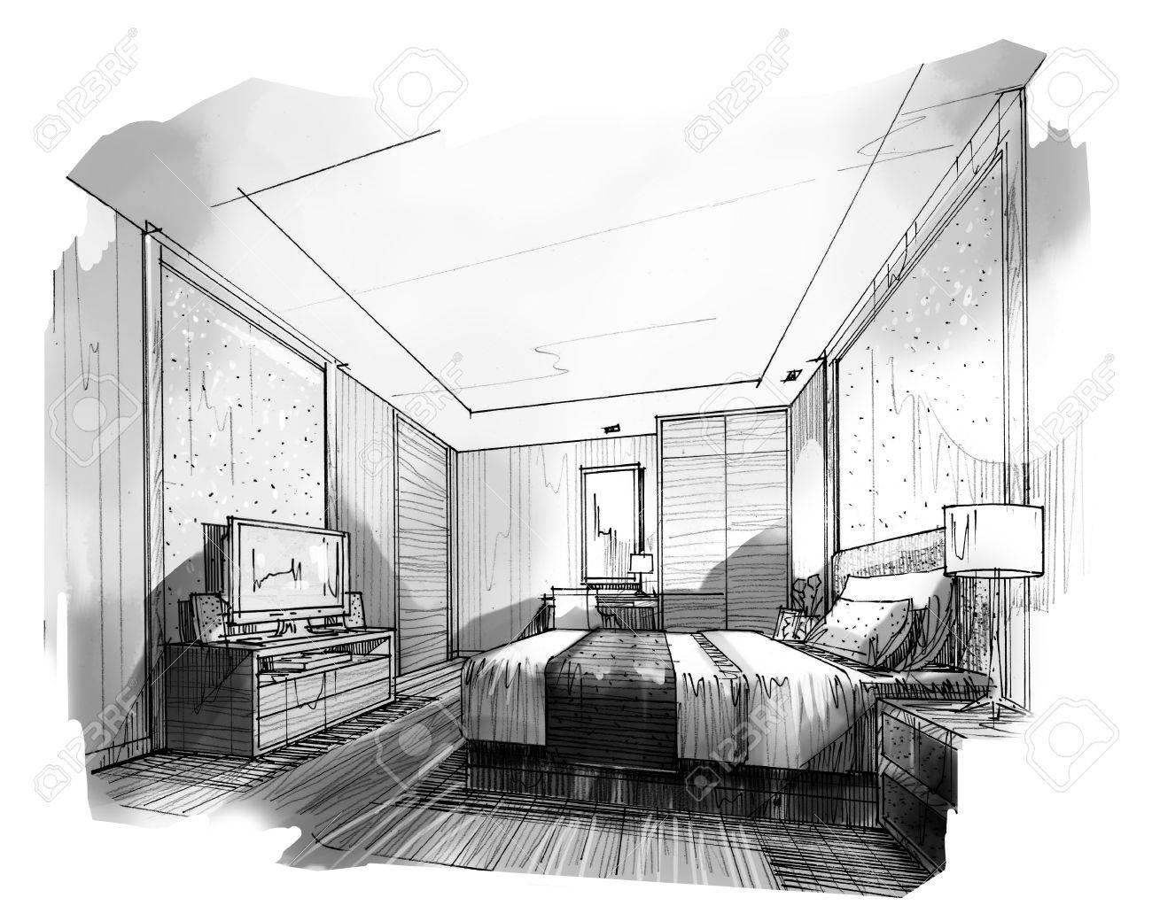 Croquis Perspective Intérieure Rayures Chambre, Couleur Noir Et ...